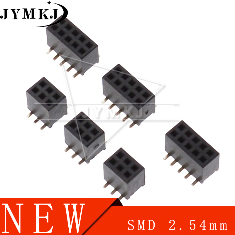 SMT 2.54mm 2.54 Double Row Female Breakaway PCB Board Pin Header Socket Connector Pinheader 2*5 2*10 2*12 2*15 2*20 2* 3-50P SMD