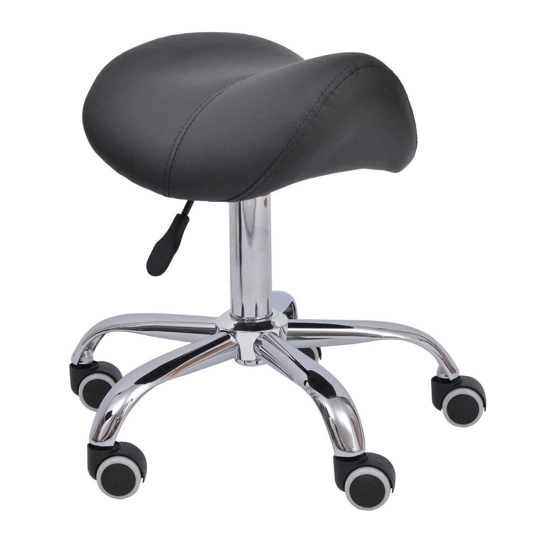 HOMCOM Stool Saddle For Hairdresser Salon Aesthetic Height Adjustable With Wheels 52×53×49-61cm Black