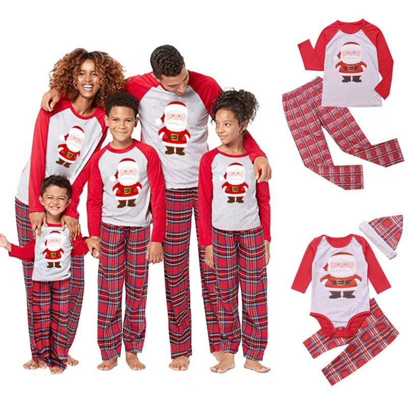 Family Christmas Pajamas Set Family Matching Clothes Xmas Party Clothes Adult Kids Pajamas Set Cotton Baby Romper Sleepwear