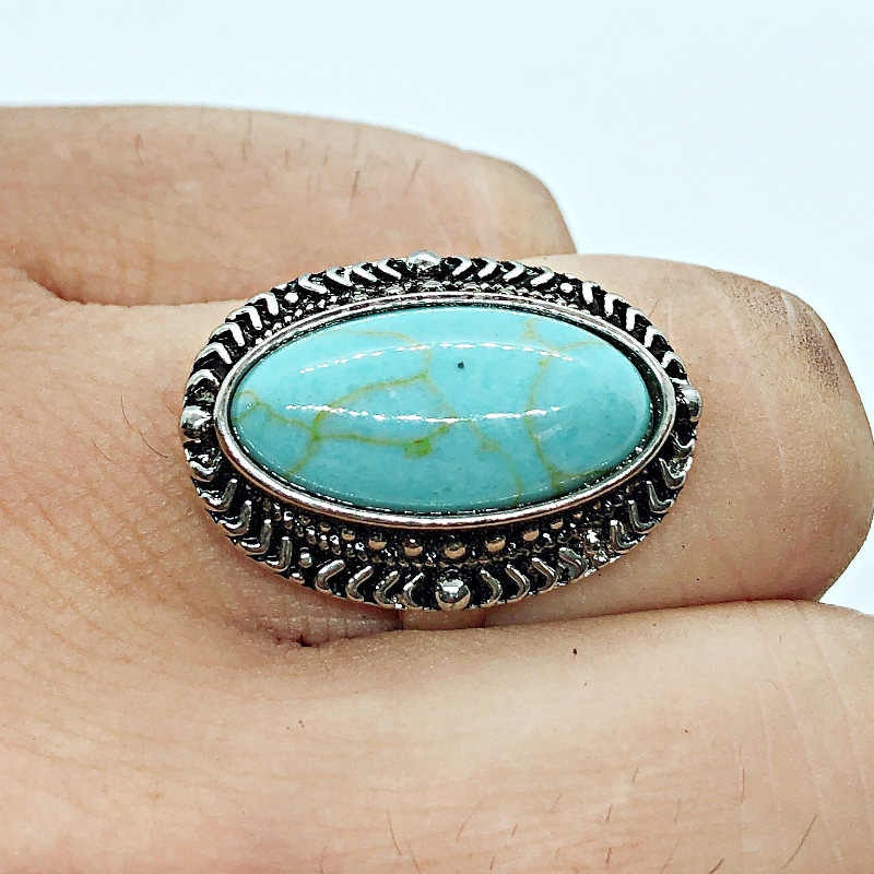 Retro Antique Silver Color Oval Opals Turquoises Knuckle Ring Fashion Bohemia Midi Rings for Women Boho Jewelry Bagues Femme