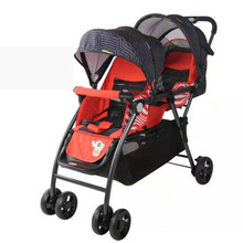 2020 New Twin Baby Stroller Lightweight Baby Carriage Reclining Four-wheeled Cart Infant Trolley Twin Double Stroller