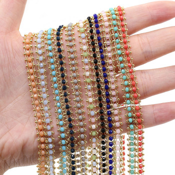 1 Meter Handmade Gold Wire Wrapped Rosary Chain stone Beads Chains for Jewelry Making DIY Necklace Bracelet Anklet Accessories 1 meter handmade gold wire wrapped rosary chain stone beads chains for necklaces bracelets anklet making diy jewelry findings