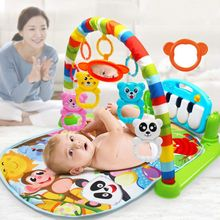 Mata do zabawy dywan dla dziecka muzyka podkładka do puzzli z klawiatura pianina stojak edukacyjny zabawki niemowlę Fitness mata dla niemowlęcia prezent dla dzieci siłownia