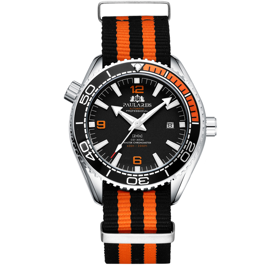 Men Automatic Self Wind Mechanical Orange Black Blue Red Gray Canvas Strap James Bond 007 Style Luxury Watch|Mechanical Watches| |  - title=