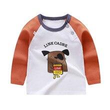 Luna Blanco/От 6 месяцев до 2 лет топы для маленьких мальчиков, футболка хлопковая Футболка с круглым вырезом и рисунком для маленьких мальчиков Осенняя рубашка в полоску с длинными рукавами для малышей