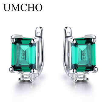 UMCHO Solid 925 Sterling Silver Clip Earrings for Women Luxury Emerald Green Gemstone Jewelry Princess Cut May Birthstone Gift - DISCOUNT ITEM  55% OFF All Category