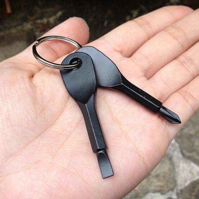 Screwdrivers Key Shape Precision Cast Steel Mini Slotted Keychain Pocket Repair EDC Tools Multifunction