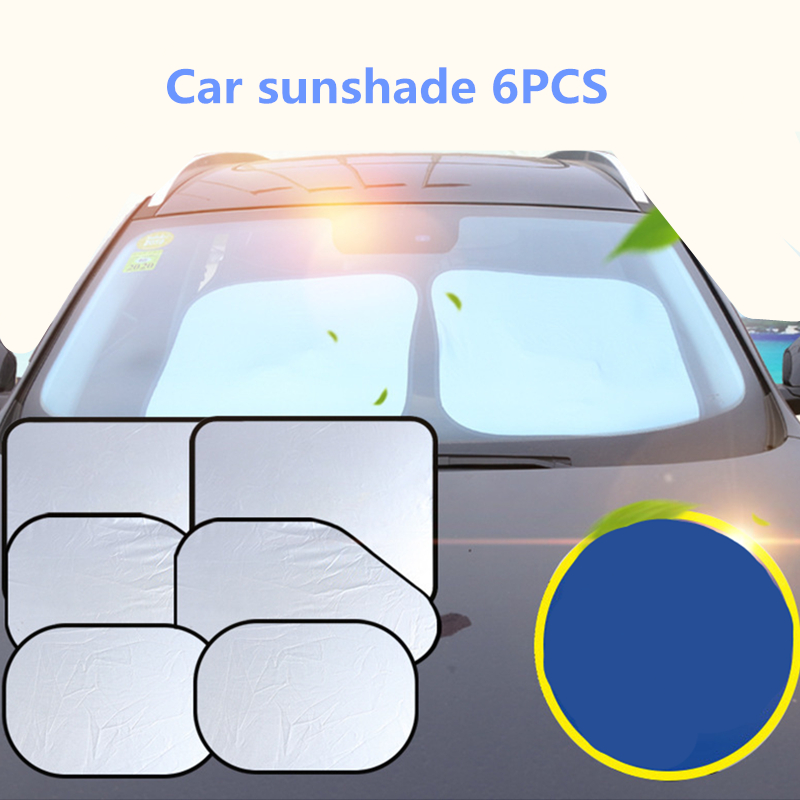 6pcs Set Silver-Coated Car Sunshade For Car Sun Block Summer Sun Block Front Block Side Block Rear Block Sun Block Set