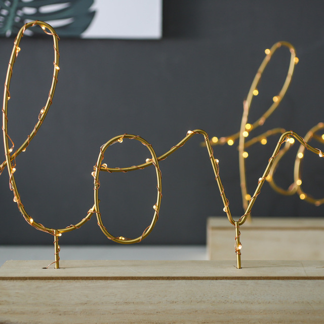 Home Decorative Figurines Ornaments LED Lamp Light LOVE Letters Living Room Bedroom Layout Decoration Valentine's Birthday Gift 4