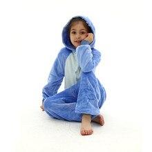 Stitch Kigurumi dla dzieci dzieci jednorożec Panda piżama zimowa flanelowa ciepła piżama chłopcy dziewczęta kombinezon zwierzę kombinezony