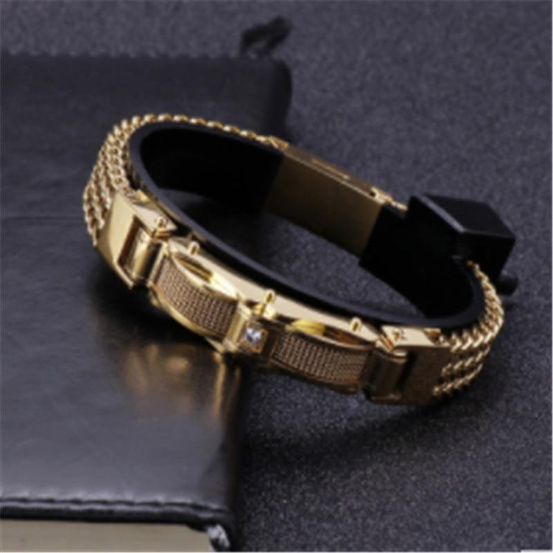 Hommes Bracelets mode Bracelet hommes avec fermoir aimanté bijoux masculins or acier inoxydable hommes Bracelets 13MM