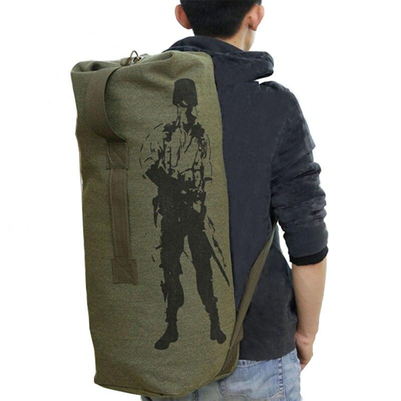 Mochila militar de lona para exteriores, Mochila para acampar, senderismo, bolso para mujeres y hombres, Mochila de viaje con cordón del cubo, Mochila del ejército XA1245A