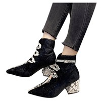 Winter Women's Square Heel Casual Short Tube Booties Snake Pattern Ankle Bare Boots Ladies Party Nubuck Motorcycle Short Shoes