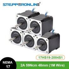 5PCS Nema 17 Schrittmotor 48mm 2A 17HS19-2004S1 Motor Nema17 59Ncm(84 unzen. in) 4-blei Schritt Motor für CNC 3D Drucker XYZ