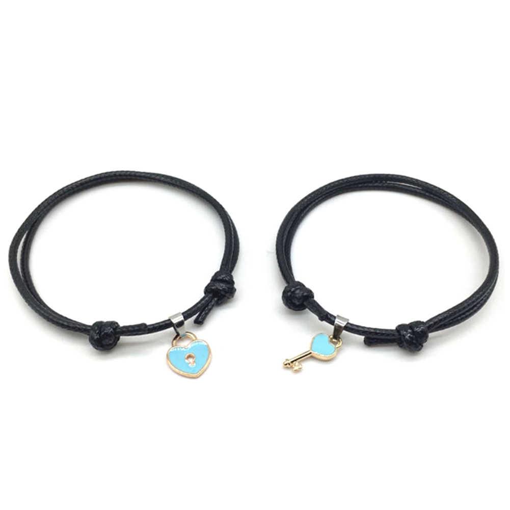 2019 חדש מכירה לוהטת 1Pc אופנה מפתח מנעול לב קסם תליון זוג צמיד שרשרת צמיד תכשיטי מתנה עבור נקבה