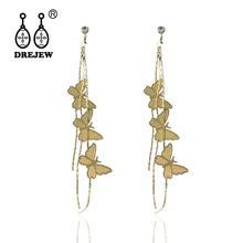 DREJEW Fairy Butterfly Statement Earrings 925 Long Tassel Gold Silver Crystal Alloy Drop for Women Fashion Jewelry E409