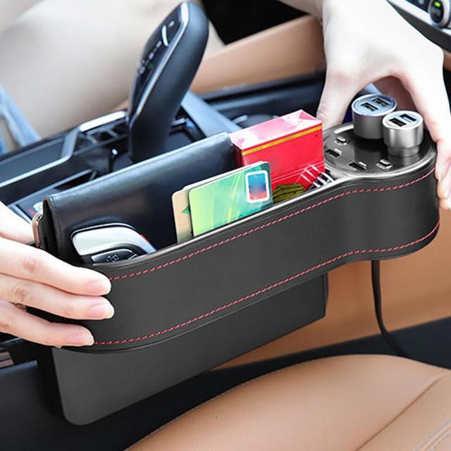 Auto Sitz Organizer Lücke Lagerung Box Spalt PU Fall Tasche Auto Sitz Seite Schlitz für Schlüssel Brieftasche Münzen Telefon USB ladegerät