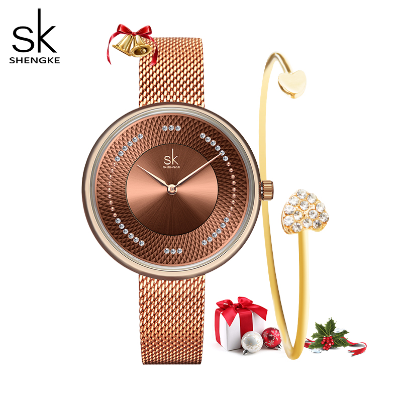 Shengke Women Watches Top Brand Luxury Stainless Steel Strap Wristwatch For Women Rose Clock Stylish Quartz Ladies Watch