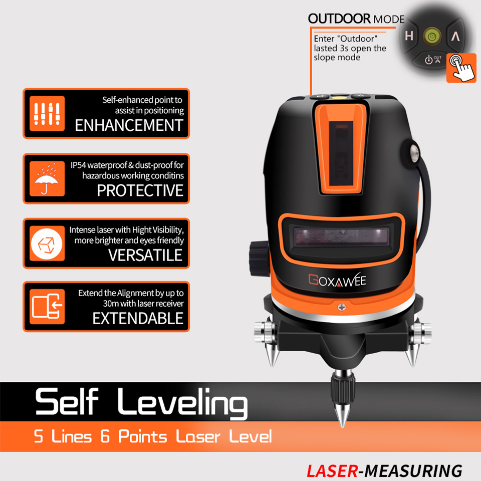 Image 4 - GOXAWEE Laser Level Red/Green 5 Line 6 Points Self leveling Horizontal&Vertical 360 Adjustment Line Level Measuring Instruments-in Laser Levels from Tools