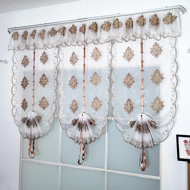Modern Luxury Brown Embroidered Tulle Curtain for Bedroom Living Room Roman Blinds Sheer Home Decoration
