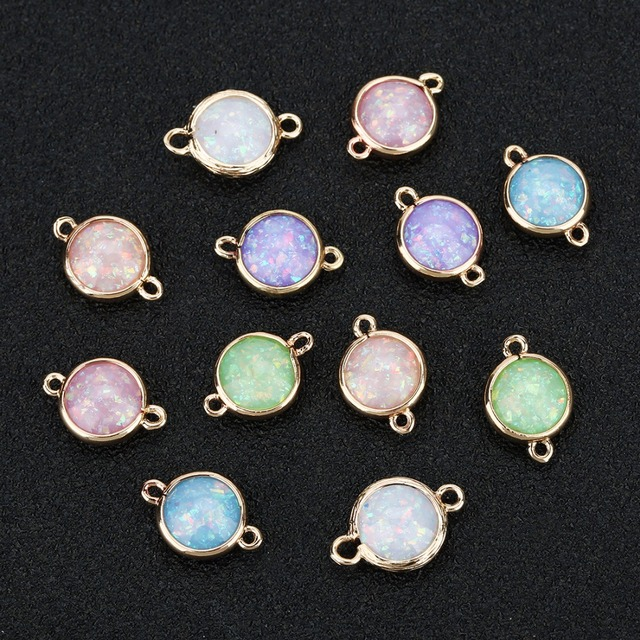 5pcs/lot 12*17mm Bling Sequins Resin Charms Round Double Hole Connectors Stone Charms Pendant For DIY Jewelry Accessories Making