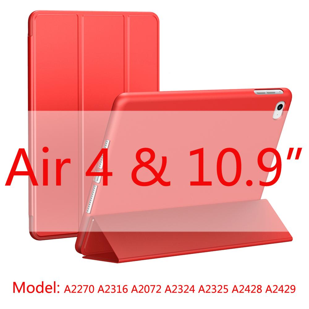 red-Air4 Black 2020 New Soft Silicone Case For ipad Air4 with Smart Sleep Wake Funda Capa Case for