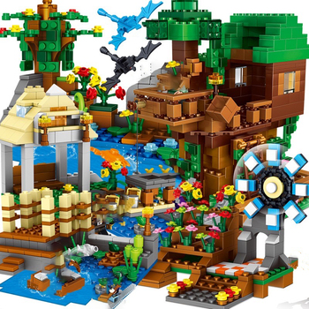 2020 new Compatible Blocks Lepining Village City Tree House Minecraftinglys Waterfall Warhorse Bricks Toys For Children 342pcs my world series tree house in island model building blocks compatible legoed minecrafted village brick toys for children