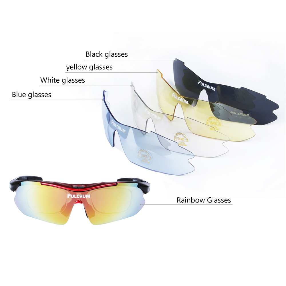 Cycling Sunglasses UV Protection MTB Bike oculos ciclismo Polarized Sports Bicycle Cycling Glasses Man Eyewear Goggles 5 lenses in Cycling Eyewear from Sports Entertainment