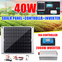 40W Solar Battery Solar Panel +10A Controller + Power Inverter Charger Converter Solar System Kit for Fishing Boat Cabin Camping