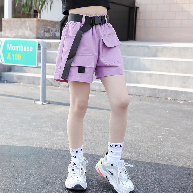 2020 Summer Kids Children's Cargo Shorts For Girls Fashion Teens Girl Causal Shorts With Belt Black 4 6 7 8 9 10 11 12 13 Years