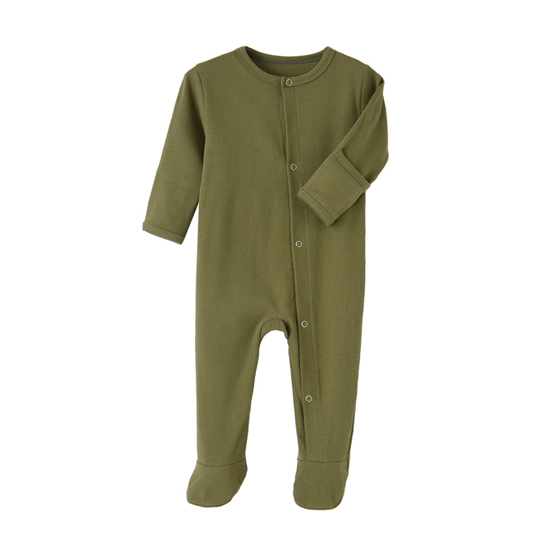 Organic Cotton Baby Rompers Footed Sleep and Play Autumn Winter Full Sleeve Jumpsuit Infant Footies Solid Color Bottoming Cloth | Happy Baby Mama