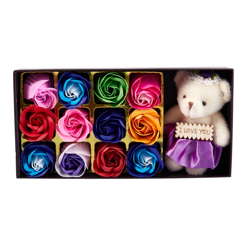 1 Box Rose Flower Soap Gift Box For Bath - Perfect Valentine's Day Gift With A Bear For Mother, Wife Or Girlfriend(Color)