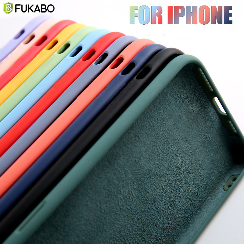 Galleria fotografica Thin Soft Case For iPhone 7 8 6 6s Plus 5S 5 Original Liquid Silicone Cover Candy Color Coque Capa For iPhone X Xs 11 Pro Max XR