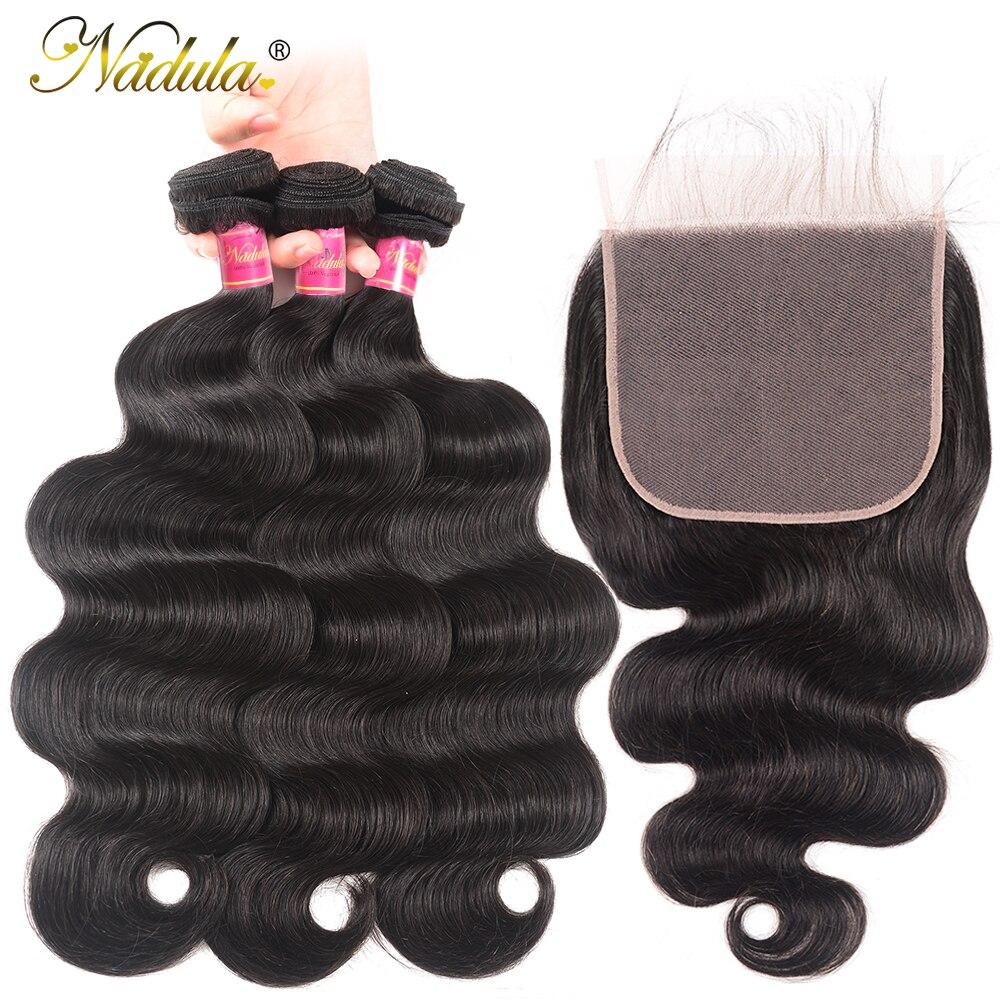 Nadula onda do corpo pacotes com fechamento 7x7 fechamento do laço brasileiro remy cabelo tecer pacotes com fechamento 100% feixes de cabelo humano