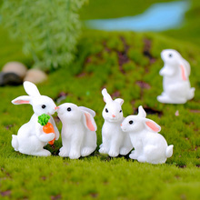 7pcs Lovely Resin Rabbit Easter Decoration Miniature Hare Animal Figurine Resin Craft Mini Bunny Garden Ornament