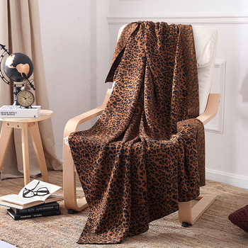 100% Cotton Blankets Leopard Print Knitted Wool Blanket Air Conditioning Sofa Bedding Comforter Nordic Cotton Throw Blanket