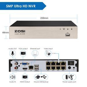 Image 4 - ZOSI H.265 + 8CH 5MP POE אבטחת מצלמה מערכת ערכת 8x5MP סופר HD IP מצלמה חיצוני עמיד למים CCTV וידאו מעקב NVR סט