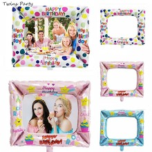 Twins Party 1st Birthday Photo Frame Balloons Booth Foil props Happy