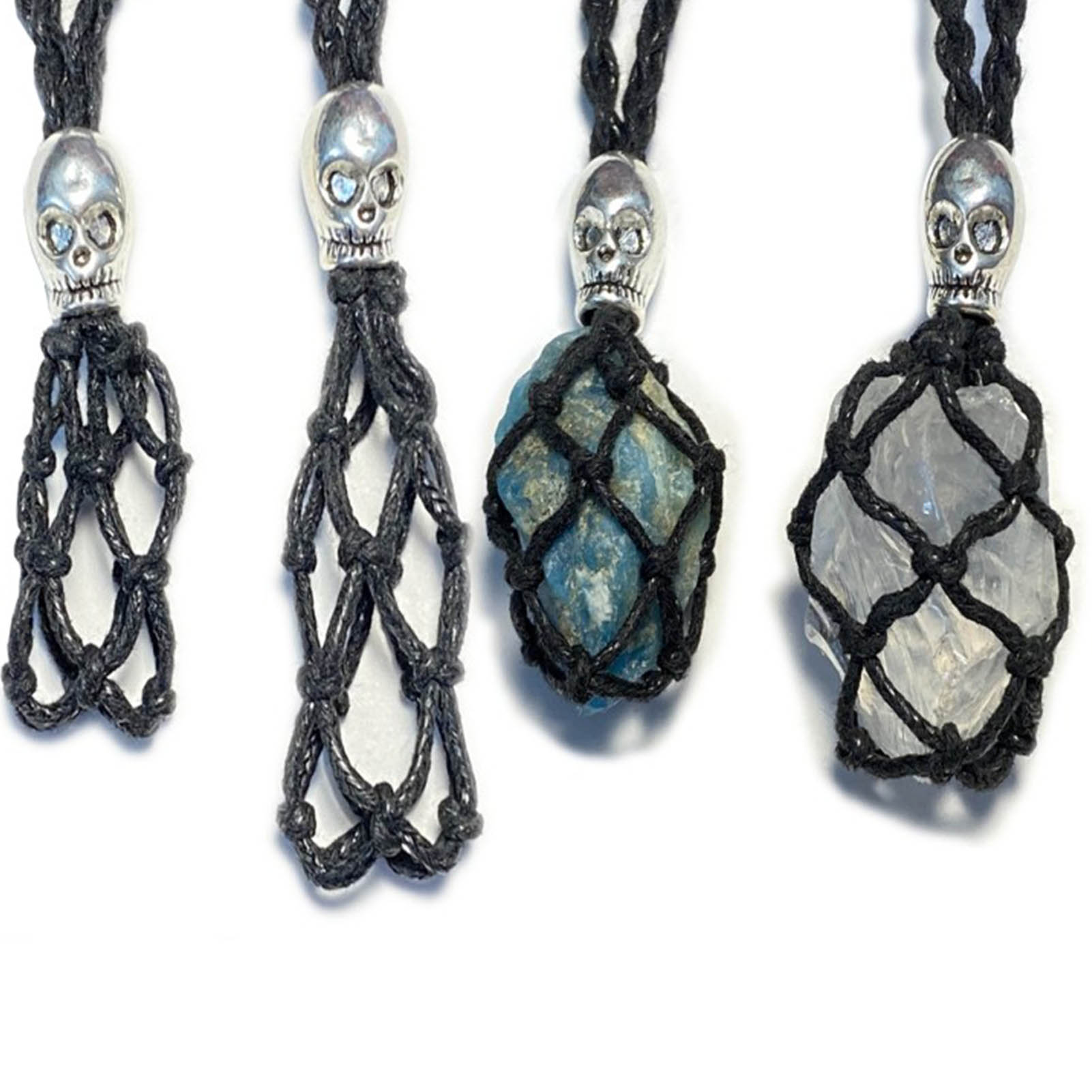 2pcs Necklace Cord Empty Stone Holder Natural Quartz Crystal Raw Stone Chakra Point Healing Fish Netted Indians Amulets Pendant