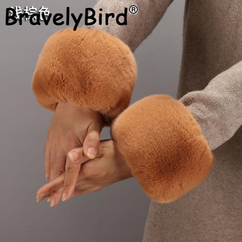 Women Winter Faux Rabbit Fur Cuffs Coat Jackets Sleeve Decor Arm Warmer Oversleeve Wristband Elastic Bracelet Plush Hand Ring