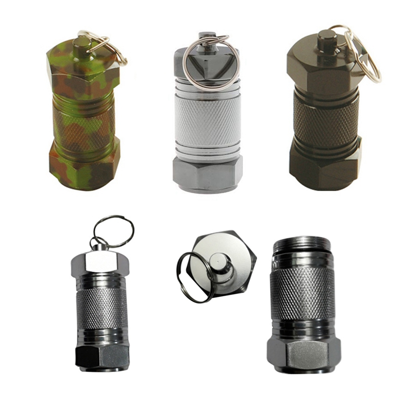 Outdoor Keychains Waterproof Military Camouflage Pill Case Aluminum Alloy Camping First Aid Gallipot Cartridge Keychain
