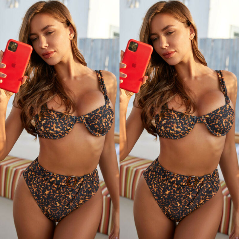 New Fashion Women Ladies Beach Style Sleeveless Leopard Print Push Up High Waisted Bikini Set Briefs Swimsuit Swimwear