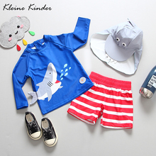 Baby Boy Swimwear UV Protection 3 Pieces Childrens Swimsuit Cute Shark Long Sleeve Swimming Suit for Boys Toddler Bathing Suits