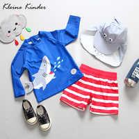 Baby Jungen Bademode UV Schutz 3 Stück kinder Badeanzug Nette Shark Langarm Schwimmen Anzug für Jungen Kleinkind Baden anzüge