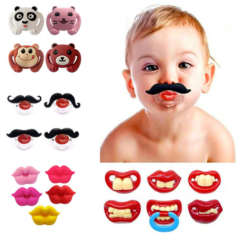 Silicone 54/colos Funny Nipple Dummy Baby Soother Joke Prank Toddler Pacy Orthodontic Nipples Teether Baby Pacifier Cute Cartoon