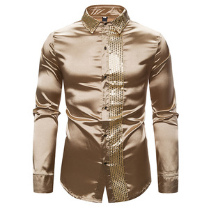 Image 3 - Shiny Silver Sequin Shirt Men 2019 Slim Fit Silk Satin Mens DJ Dance Shirts Night Club Stage Party Shirts Chemise Homme Camisas
