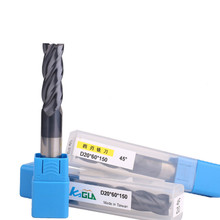 Tungsten steel milling cutter 4-blade 45 degree carbide CNC with long flat bottom coating end mill