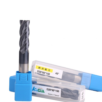 Tungsten steel milling cutter 4-blade 45 degree carbide milling cutter CNC cutter with long flat bottom coating end mill 1 pack 8m r0 5 60l 8d 4 flutes micro grain solid carbide aitin coating cnc end milling cutter hrc 45 flat end mill knife