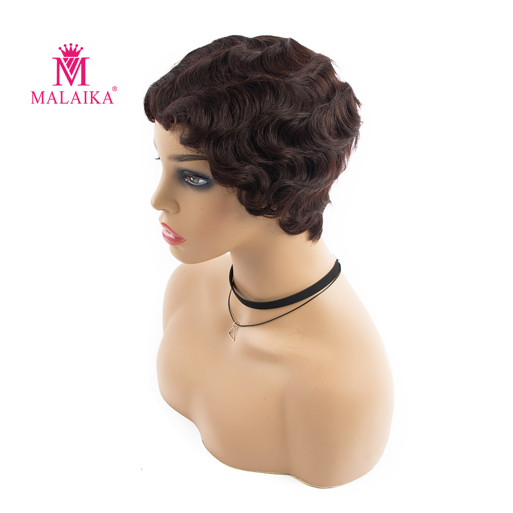 MALAIKA Finger Wave Wig Short Human Hair Wigs Brazilian Non-Remy Human Hair Stretch Lace Wigs For Black Women