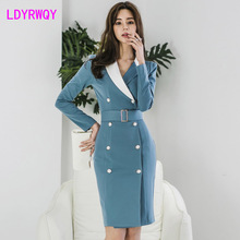 2019 autumn new Korean professional suit collar double-breasted long-sleeved bag hip slim colorblock dress
